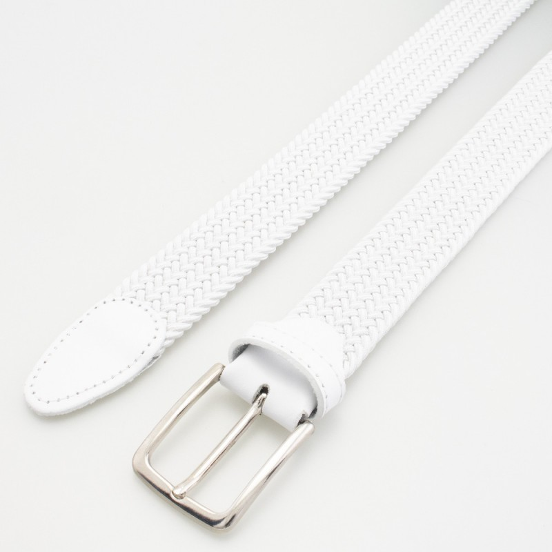 Cintura in elastico intrecciato bianco