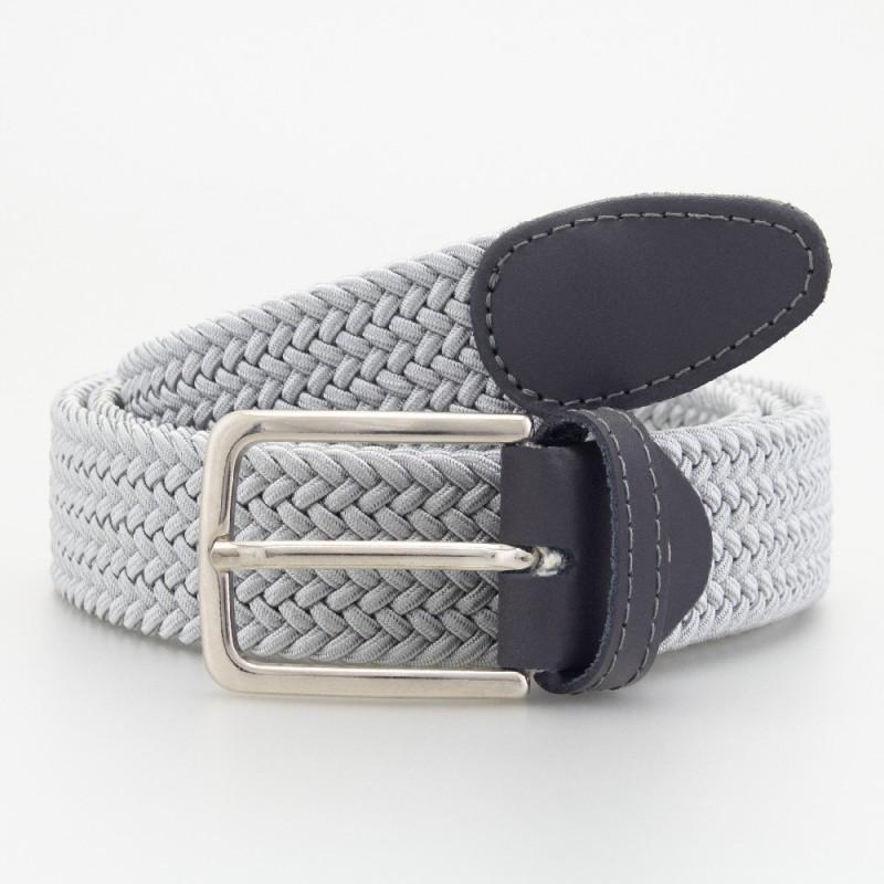 Cintura in elastico intrecciato grigio chiaro