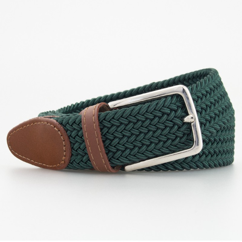 Cintura in elastico intrecciato verde scuro