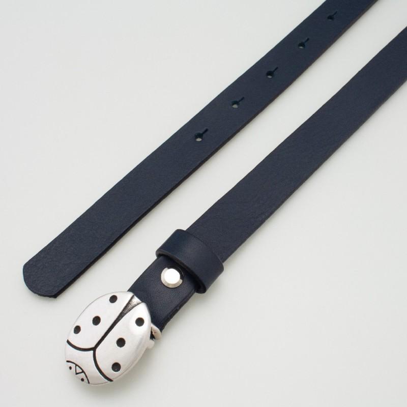 Cintura in pelle da bambino coccinella blu