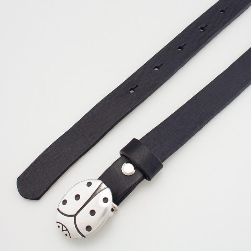 Cintura in pelle da bambino coccinella nero