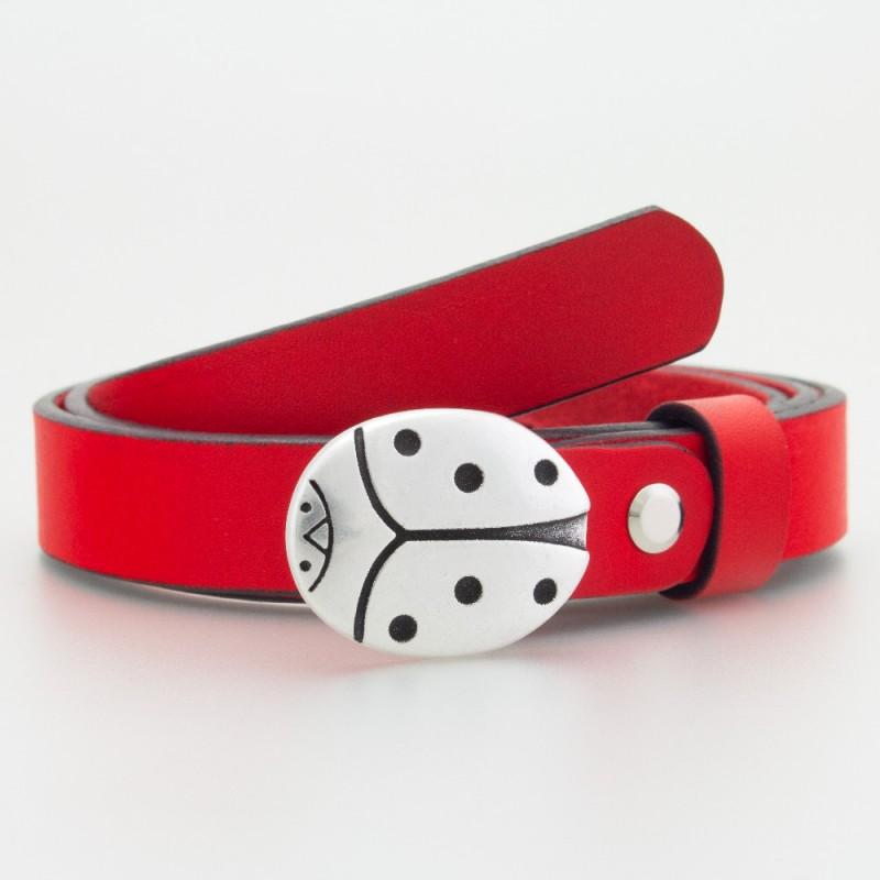 Cintura in pelle da bambino coccinella rossa