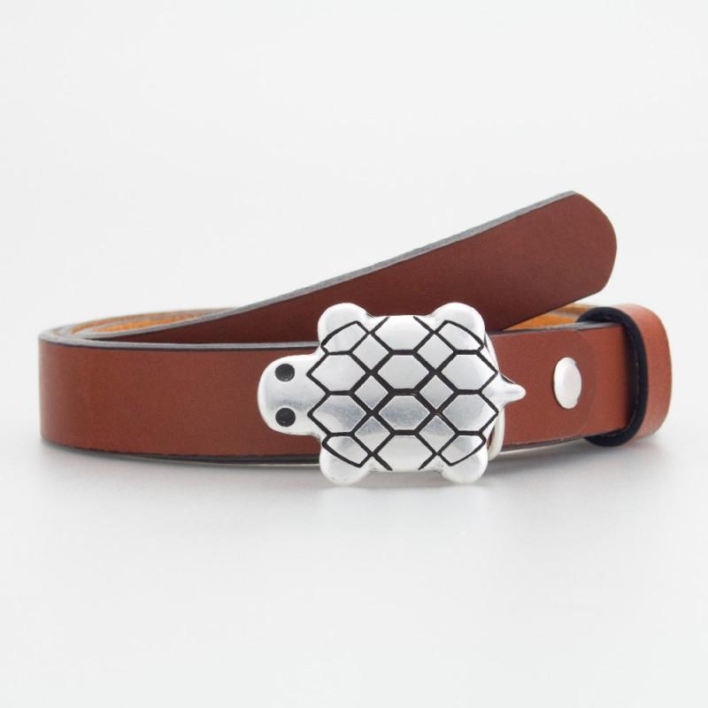 Cintura in pelle da bambino tartaruga marrone