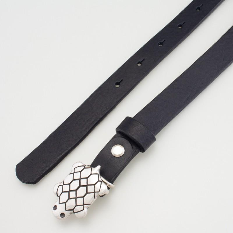 Cintura in pelle da bambino tartaruga nero