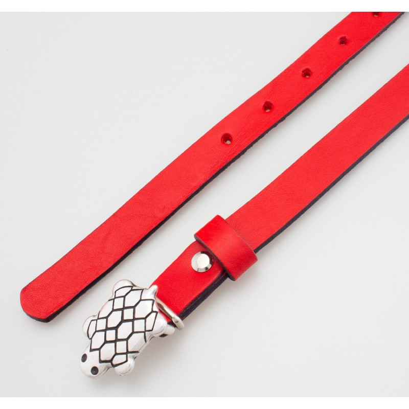 Cintura in pelle da bambino tartaruga rossa