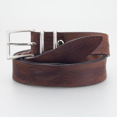 Cintura in cuoio italiano MARRONE con passanti in metallo