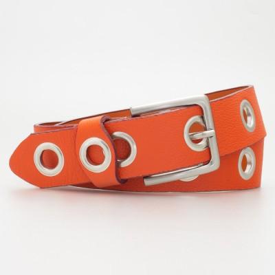 Cintura 4 cm con occhielli in pelle colore ARANCIO