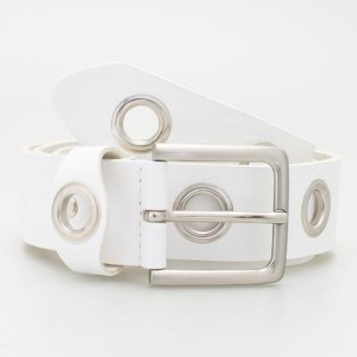 Cintura 4 cm con occhielli in pelle colore BIANCO