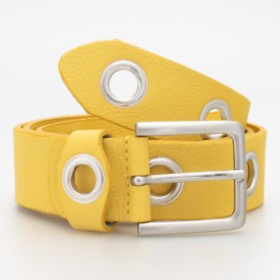 Cintura 4 cm con occhielli in pelle colore GIALLO