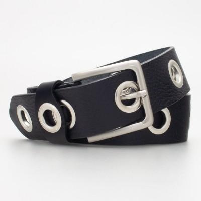 Cintura 4 cm con occhielli in pelle colore NERO