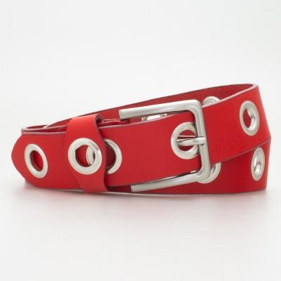 Cintura 4 cm con occhielli in pelle colore ROSSO