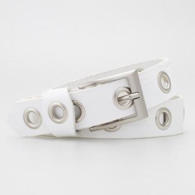 Cintura 3 cm con occhielli in pelle colore BIANCO