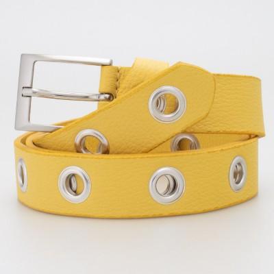 Cintura 3 cm con occhielli in pelle colore GIALLO