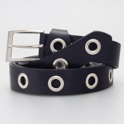 Cintura 3 cm con occhielli in pelle colore NERO