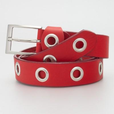 Cintura 3 cm con occhielli in pelle colore ROSSO