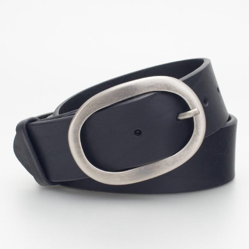 Cintura in pelle con fibbia ovale colore NERO
