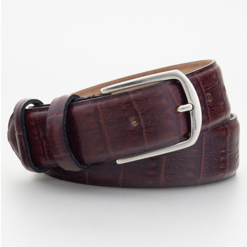 Cintura elegante in pelle stampa coccodrillo