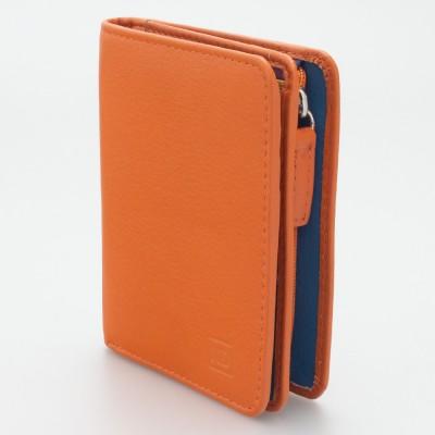 Portafoglio piccolo con portamonete esterno con zip colore ARANCIO