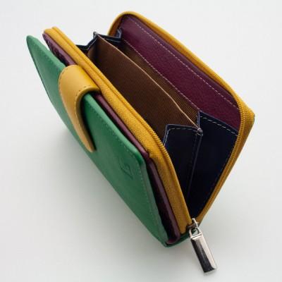 Portafoglio con laccetto in pelle multicolor