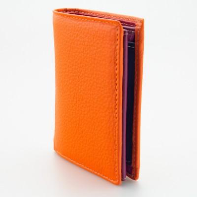 Portafoglio piccolo in pelle multicolor arancio