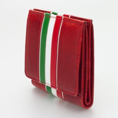 Portafoglio piccolo con portamonete a pozzetto tricolore ROSSO