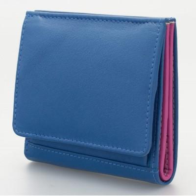 Portafoglio piccolo con portamonete a pozzetto colore turchese