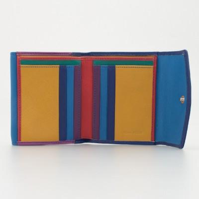Portafoglio piccolo da donna in pelle multicolor colore BLU