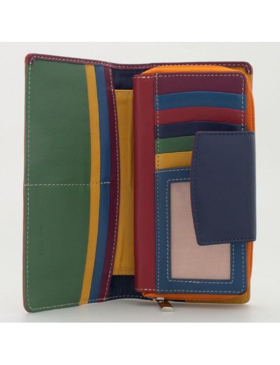 Portafoglio donna tri-fold in pelle multicolor ARANCIO