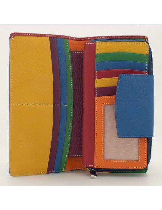 Portafoglio donna tri-fold in pelle multicolor BLU