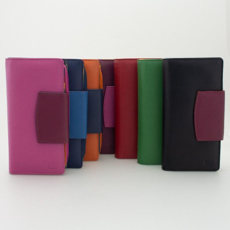 Portafoglio donna tri-fold in pelle multicolor FUXIA