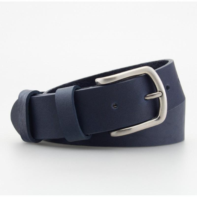 Cintura in cuoio blu