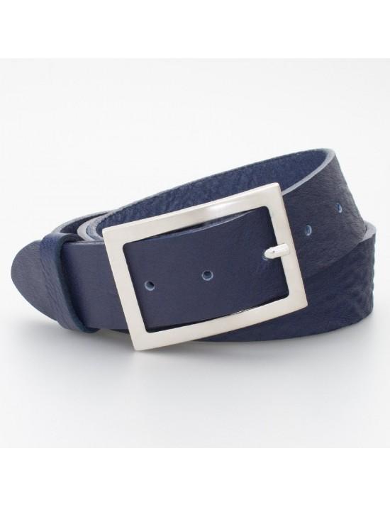 Cintura in cuoio con fibbia rettangolare colore BLU