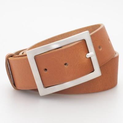 Cintura in cuoio con fibbia rettangolare colore MARRONE