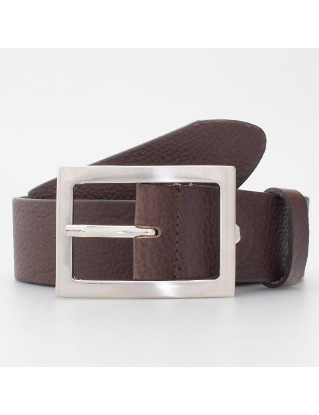 Cintura in cuoio con fibbia rettangolare colore MORO