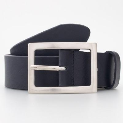 Cintura in cuoio con fibbia rettangolare colore NERO