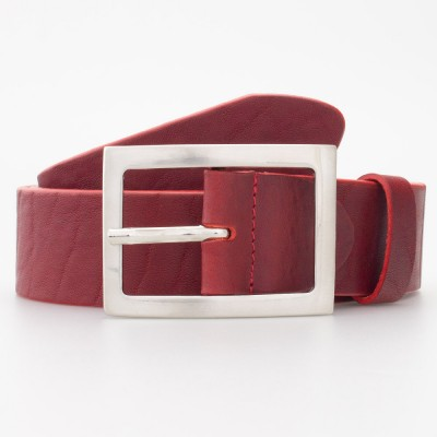 Cintura in cuoio con fibbia rettangolare colore ROSSO