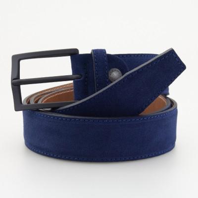 Cintura in pelle scamosciata blu